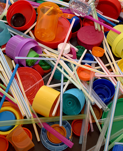 colorful mix of plastics to be used in a mural about pollution